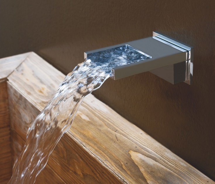 Wall-mounted chrome-plated waterfall spout BOCCA CASCATA | Waterfall spout - Bossini