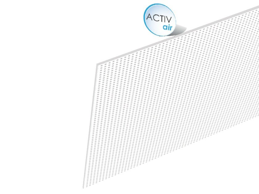 Acoustic plasterboard ceiling tiles Rigitone™ Activ'Air® 8/18 - Saint-Gobain Gyproc