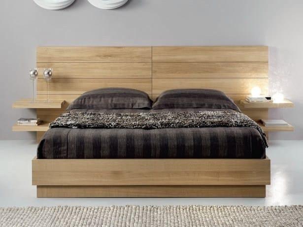 Oak double bed FLYER - Domus Arte
