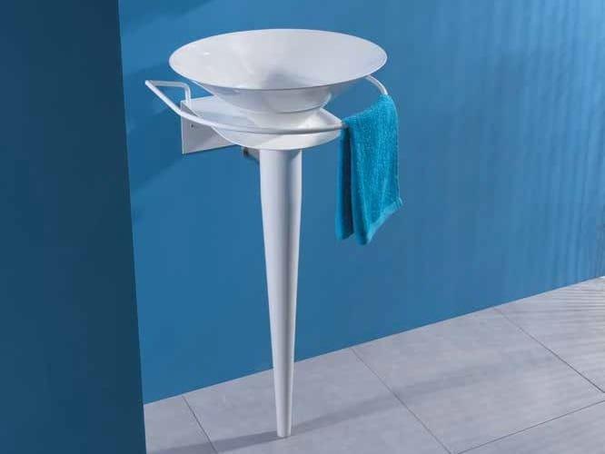 Pedestal ceramic washbasin with towel rail SPILLO - LA BOTTEGA DI MASTRO FIORE