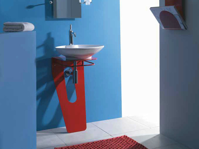 Ceramic washbasin with towel rail LAMA - LA BOTTEGA DI MASTRO FIORE