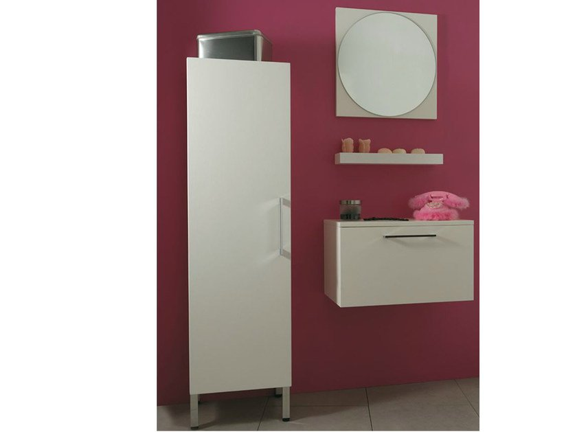 Tall wooden bathroom cabinet with doors SYSTEM | Tall bathroom cabinet by Mastro Fiore