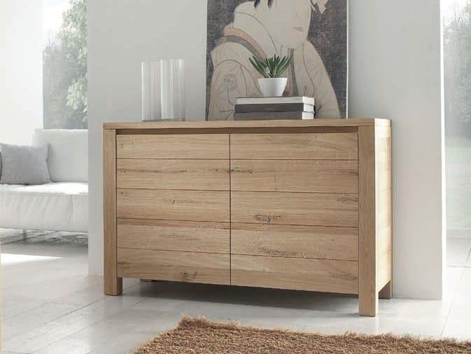 Solid wood highboard with doors BRIGITTE - Domus Arte