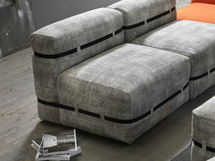 Upholstered fabric armchair POUFFY | Armchair by MY home collection
