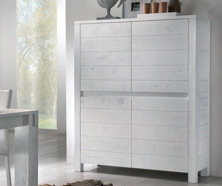 Solid wood highboard with doors AUDRY | Highboard - Domus Arte