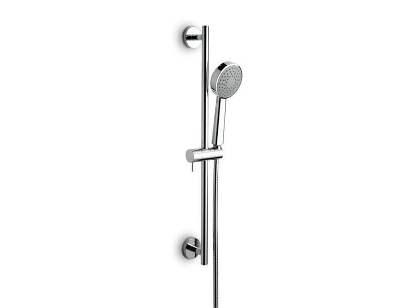 Chrome-plated shower wallbar with hand shower with hose LIBERA | Shower wallbar - NEWFORM