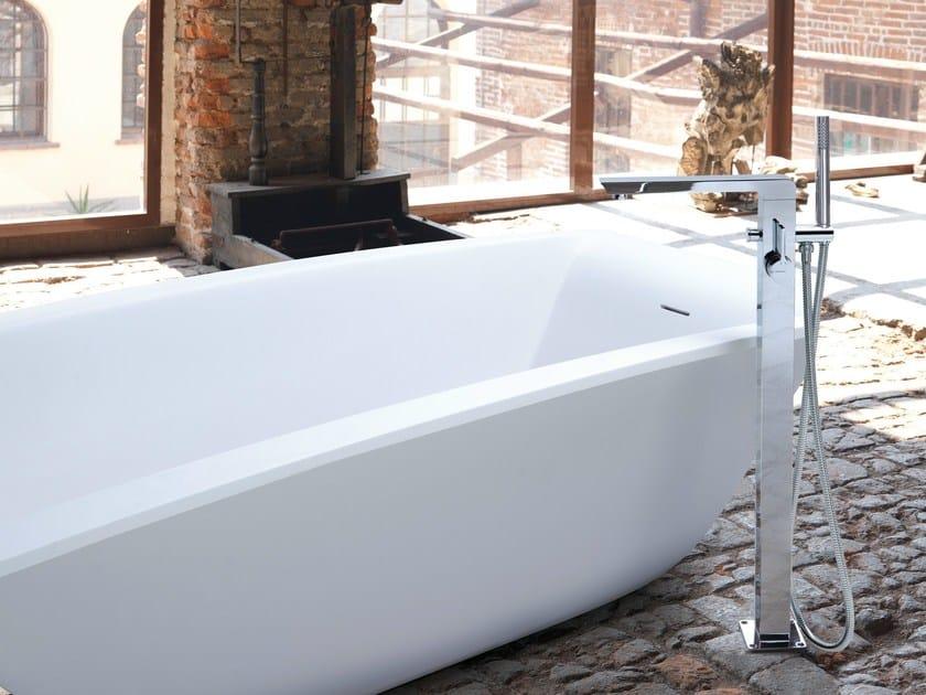 Floor standing bathtub mixer with hand shower LIBERA | Floor standing bathtub mixer - NEWFORM