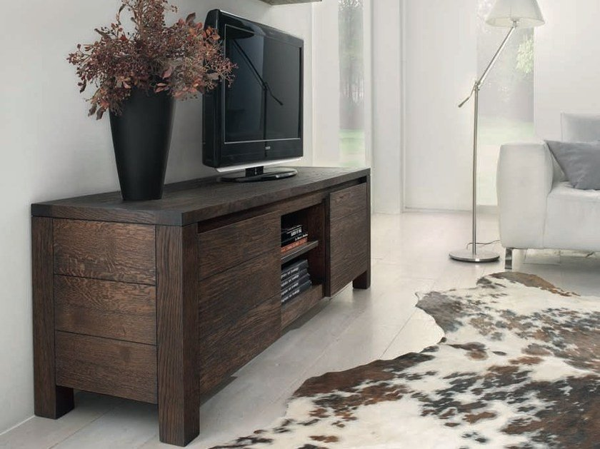Solid wood TV cabinet MARGARET - Domus Arte