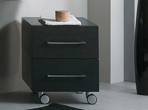 Low wooden bathroom cabinet with casters CSS-2A - LA BOTTEGA DI MASTRO FIORE