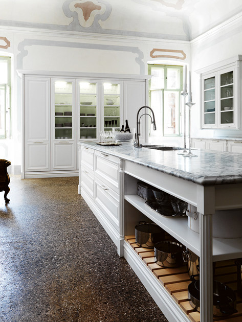 Lacquered kitchen with island elite composition 2 by for Cesar arredamenti