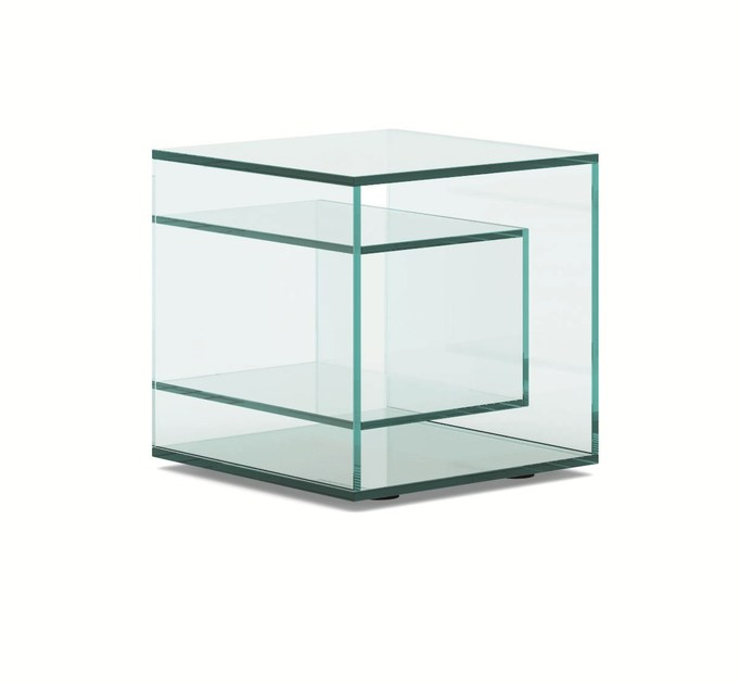 Square glass bedside table LIBER E - T.D. Tonelli Design
