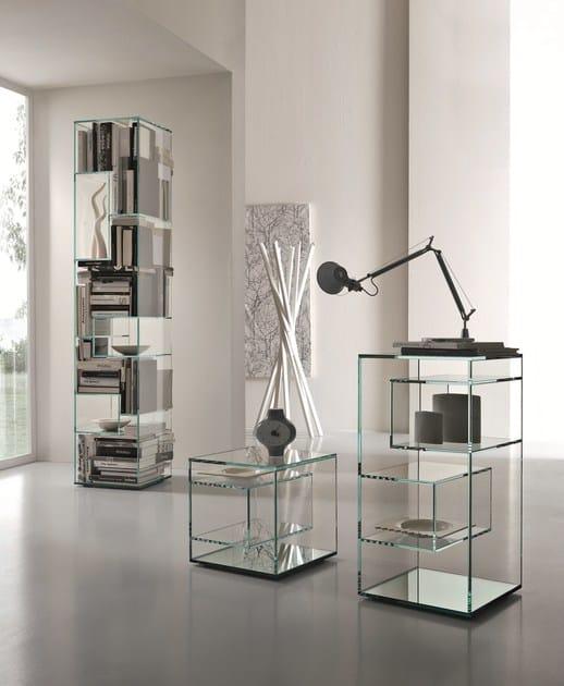 quadratischer nachttisch aus glas liber e by tonelli. Black Bedroom Furniture Sets. Home Design Ideas