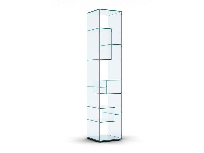 Open freestanding double-sided crystal bookcase LIBER B - T.D. Tonelli Design