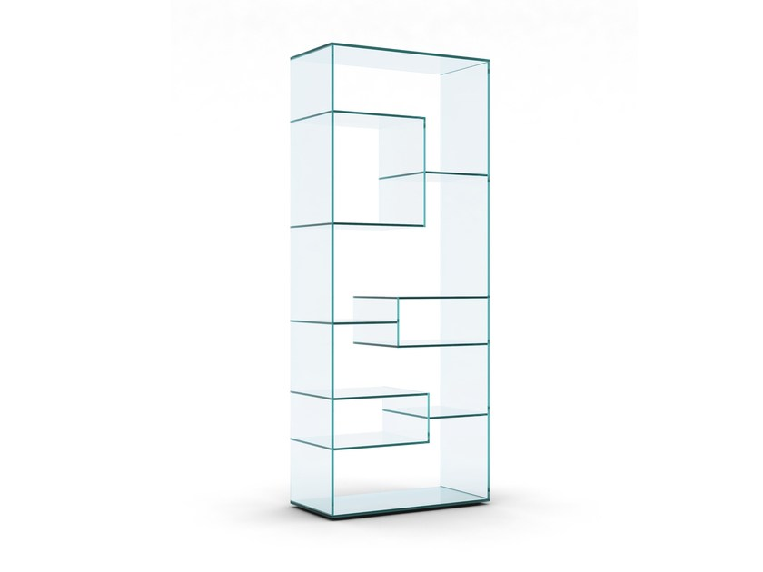 Open freestanding double-sided crystal bookcase LIBER A by Tonelli Design