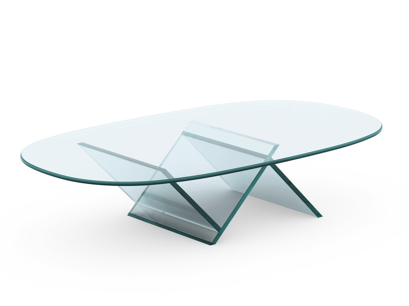 Glass coffee table VEER - T.D. Tonelli Design