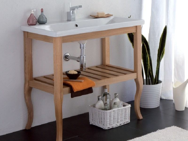 Solid wood console sink QUADRO - LA BOTTEGA DI MASTRO FIORE
