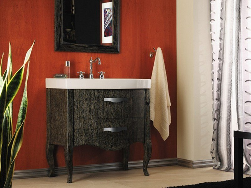 Wooden vanity unit with drawers with mirror ZEUS | Vanity unit by Mastro Fiore