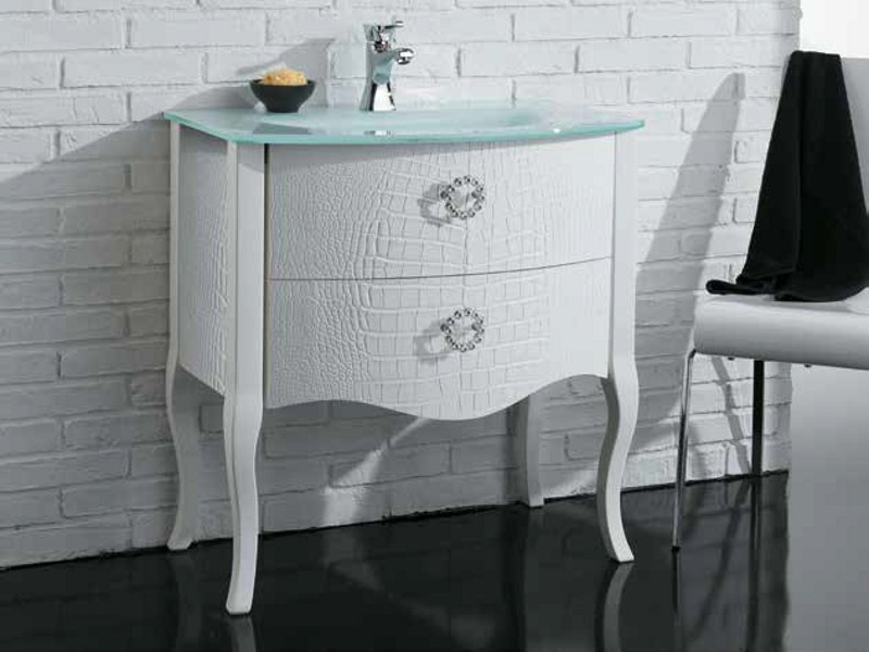 Leather vanity unit with drawers ZEUS COCCODRILLO - LA BOTTEGA DI MASTRO FIORE