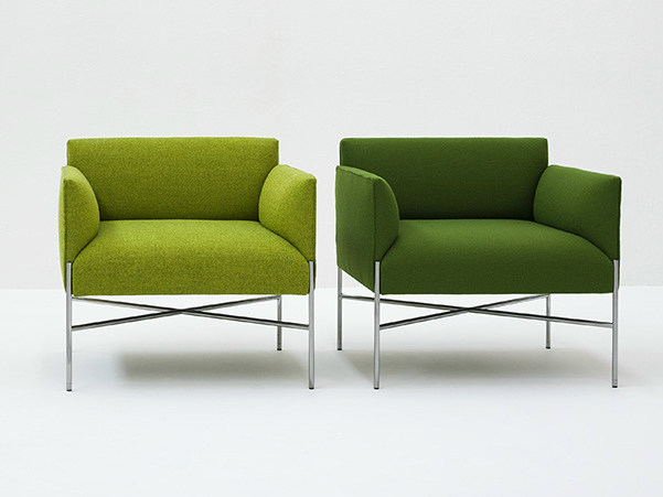 Upholstered fabric armchair with armrests CHILL-OUT | Armchair with armrests - Tacchini Italia Forniture