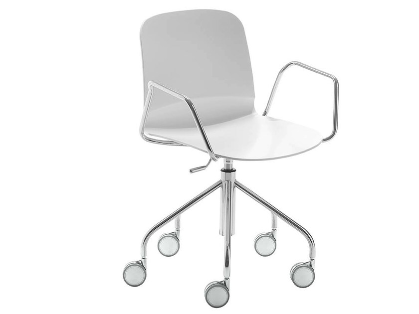 Chair on trestle base with armrests with casters LIÙ DP | Chair with casters - Midj