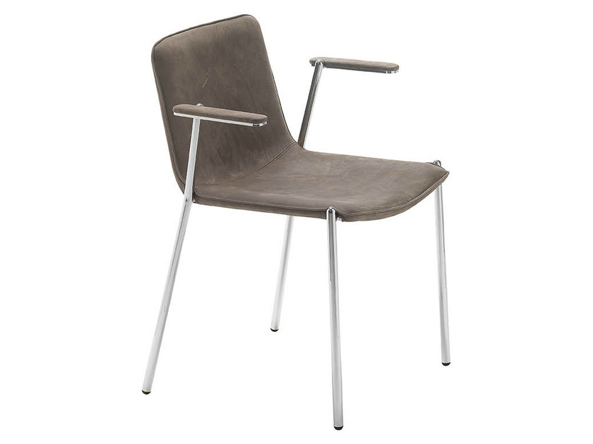Upholstered chair with armrests TRAMPOLIERE | Chair with armrests - Midj