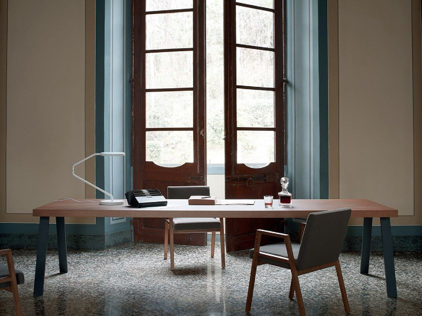 Sectional rectangular wooden office desk NASTRO by Tacchini