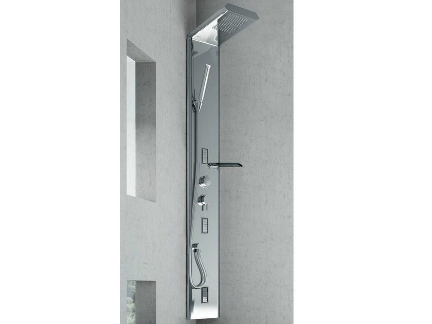 Wall-mounted steel shower panel QUARANTACINQUE PLUS by Gruppo Geromin