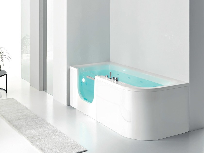 Corner whirlpool bathtub with shower FOR ALL - GRUPPO GEROMIN