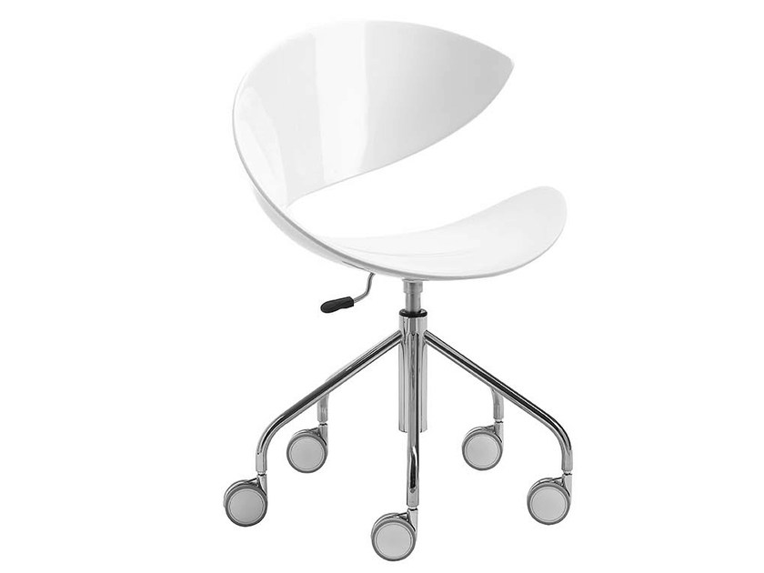 Trestle-based chair with casters TWIST | Waiting room chair with casters - Midj