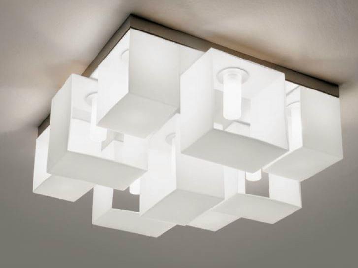 Blown glass ceiling lamp DOMINO | Ceiling lamp - PANZERI