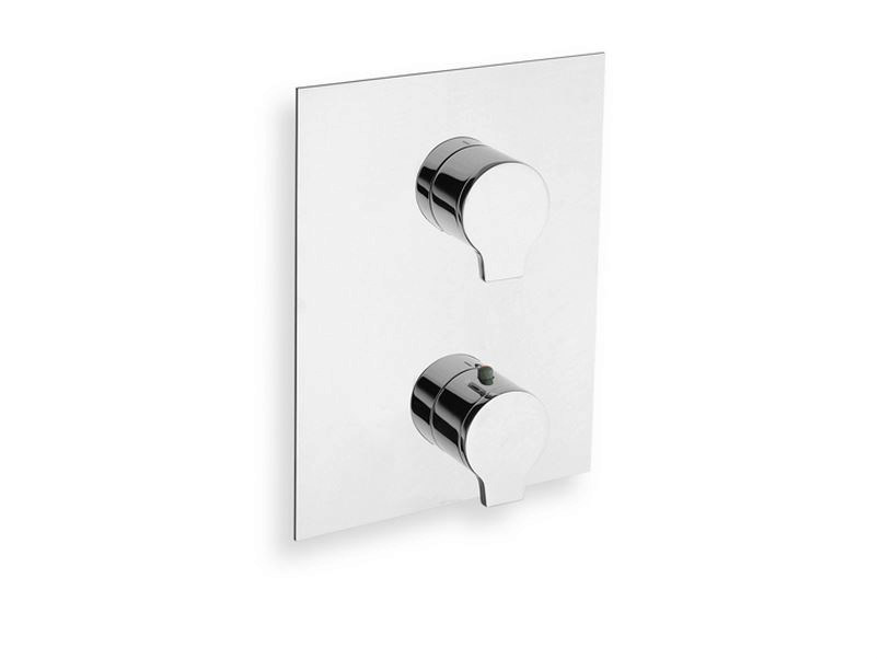 Chrome-plated thermostatic shower mixer with plate DIARIO | Thermostatic shower mixer by CRISTINA