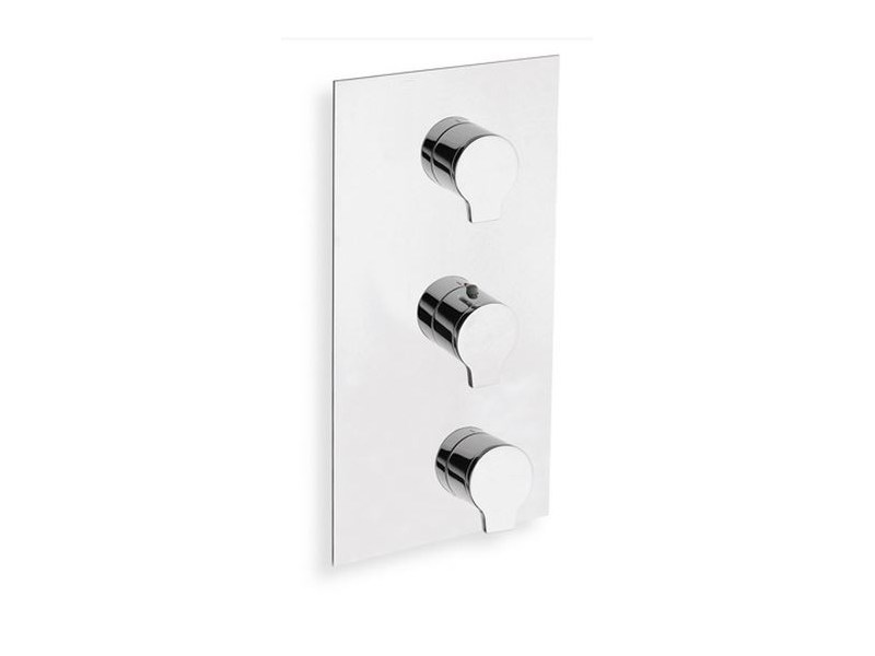 Chrome-plated thermostatic shower mixer with plate DIARIO | Thermostatic shower mixer with plate - CRISTINA Rubinetterie