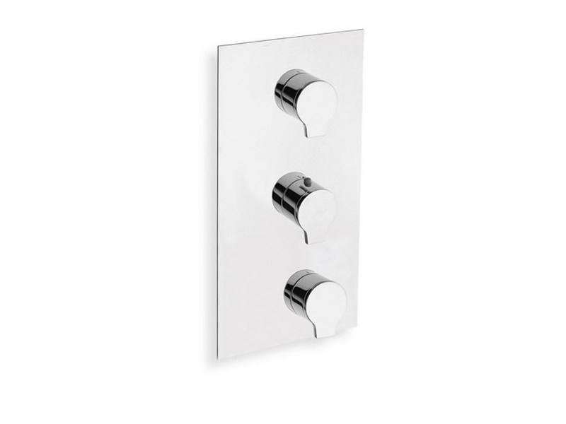 Chrome-plated thermostatic shower mixer with plate DIARIO | Chrome-plated thermostatic shower mixer - CRISTINA Rubinetterie