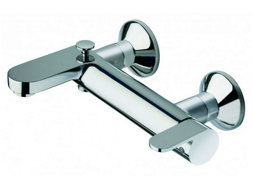 Wall-mounted chrome-plated bathtub mixer ROUND | Bathtub mixer - CRISTINA Rubinetterie