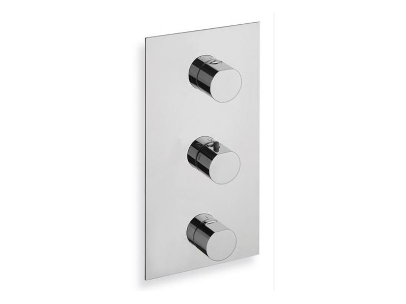 Chrome-plated thermostatic shower mixer MODUL | Thermostatic shower mixer with plate by CRISTINA