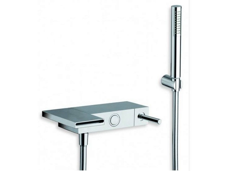 Wall-mounted chrome-plated bathtub mixer with hand shower MODUL | Bathtub mixer with hand shower - CRISTINA Rubinetterie