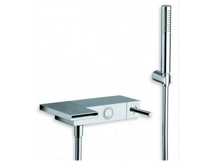 Wall-mounted chrome-plated bathtub mixer with hand shower MODUL | Bathtub mixer with hand shower by CRISTINA