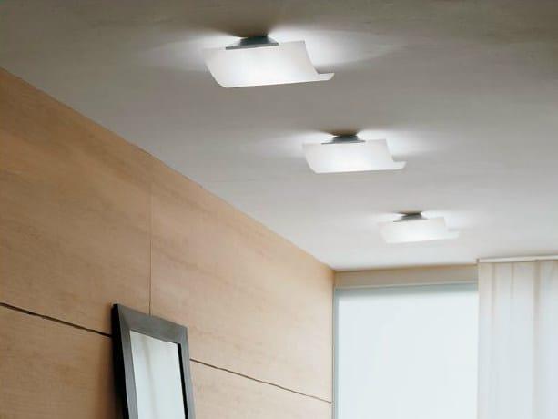 Opal glass ceiling lamp TECLA | Ceiling lamp - PANZERI