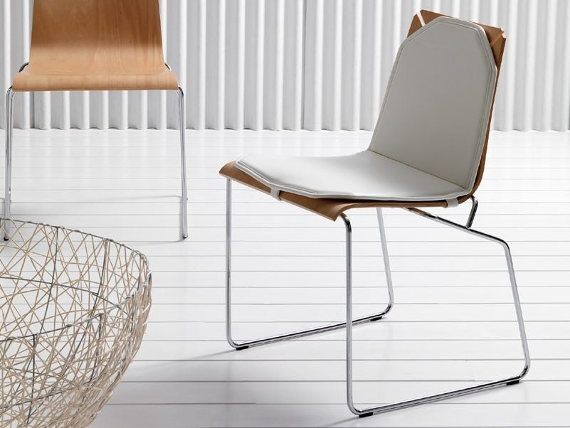 Sled base stackable chair JENNYB | Chair by Esedra