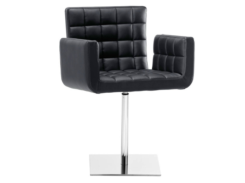 Swivel upholstered chair with armrests MARSIGLIA | Swivel chair - Midj