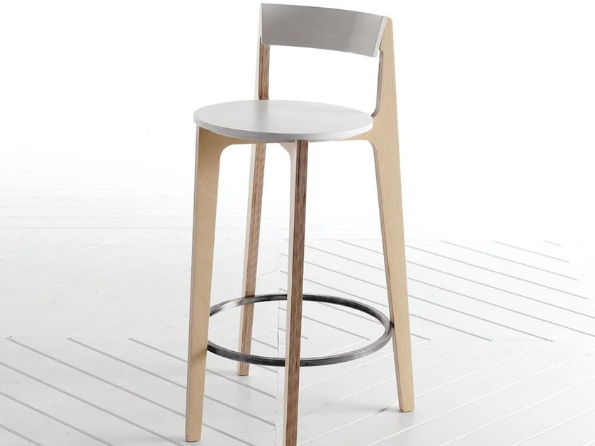 Multi-layer wood counter stool with footrest SPARTA | Counter stool - Esedra by Prospettive