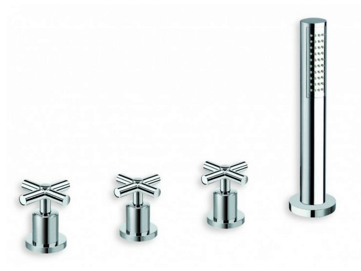 4 hole bathtub tap with diverter with hand shower EXCLUSIVE | 4 hole bathtub tap - CRISTINA Rubinetterie