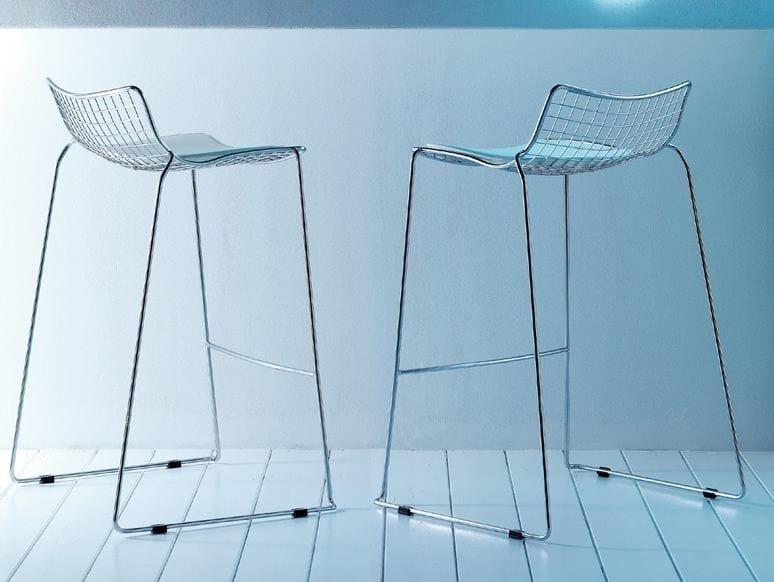 Sled base steel stool STITCH | Stool - Esedra by Prospettive