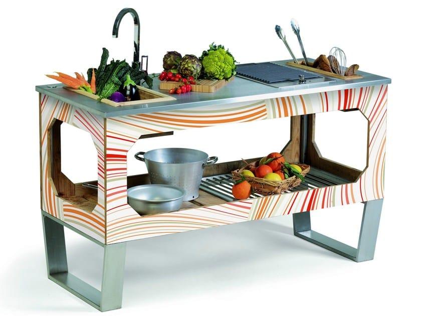 Steel and wood outdoor kitchen WINDOW COLOR - Lgtek Outdoor