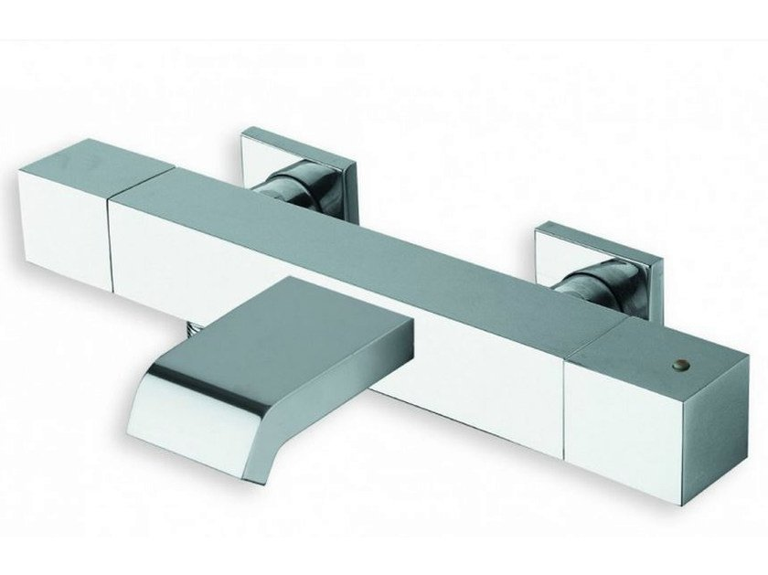 Wall-mounted chrome-plated thermostatic bathtub mixer QUADRI | Thermostatic bathtub mixer - CRISTINA Rubinetterie