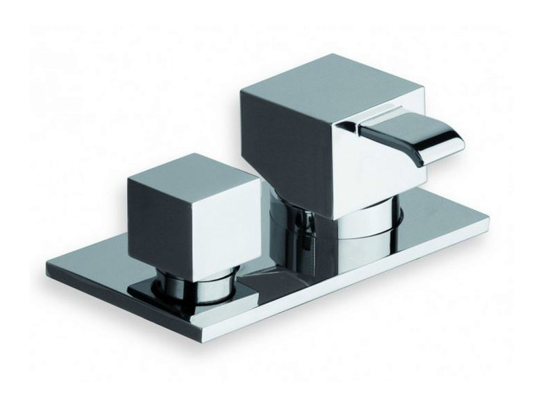 Chrome-plated single handle bathtub mixer with diverter QUADRI | Bathtub mixer with diverter - CRISTINA Rubinetterie