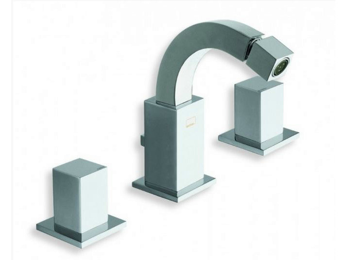 3 hole chrome-plated countertop bidet tap QUADRI | Bidet tap - CRISTINA Rubinetterie