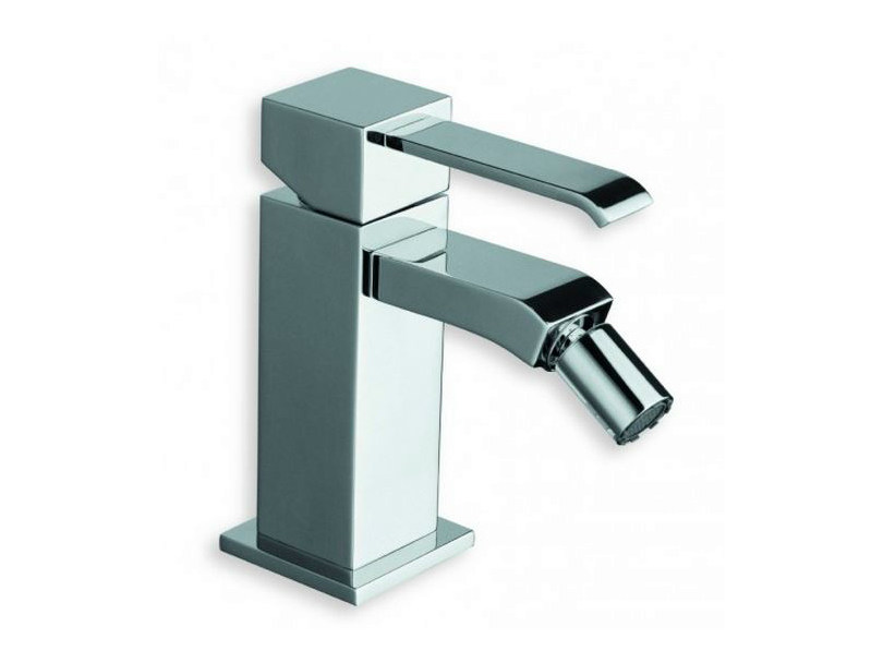 Chrome-plated countertop single handle bidet mixer QUADRI | Chrome-plated bidet mixer - CRISTINA Rubinetterie