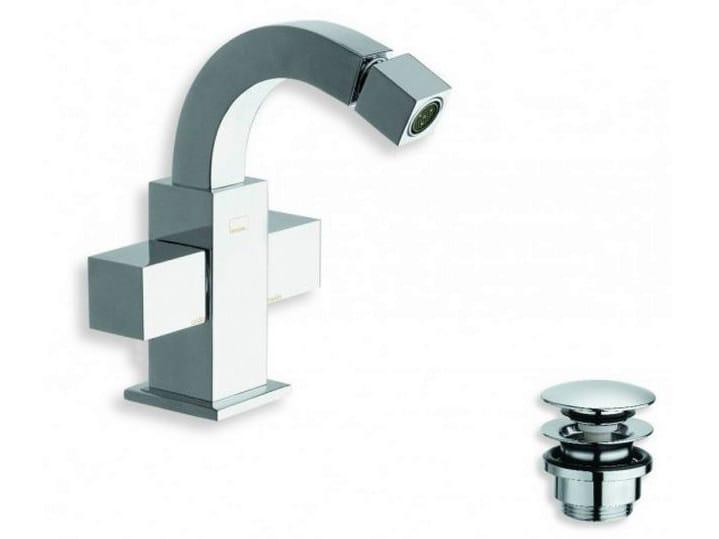 Chrome-plated countertop 1 hole bidet tap QUADRI | Countertop bidet tap - CRISTINA Rubinetterie
