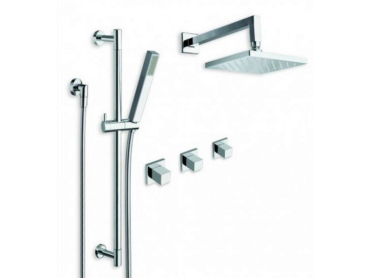 Shower wallbar with hand shower with hose with overhead shower QUADRI | Shower wallbar with overhead shower by CRISTINA